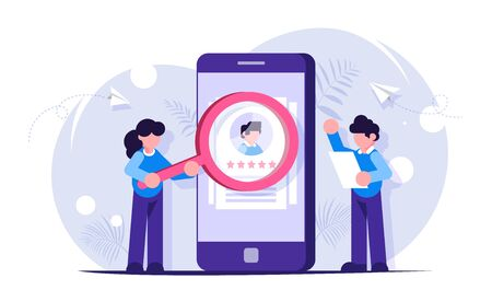 HR managers a man and a girl are considering candidates for the workplace. Search for a new employee. Young people are standing near the phone. Modern vector flat illustration Illustration