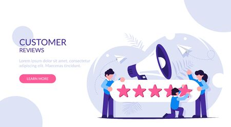 Customer Reviews. People characters giving five star Feedback. Clients choosing satisfaction rating and leaving positive review. Customer service and user experience concept.
