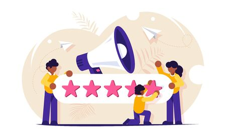 Customer Reviews. People characters giving five star Feedback. Clients choosing satisfaction rating and leaving positive review. Customer service and user experience concept
