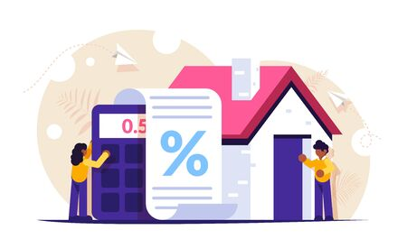 Mortgage loan against the background of the calculator and the house. The girl counts the interest on the documents. Man stands at the entrance to the new house. Modern flat illustration.