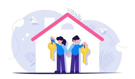 Happy family with keys to a new home. Illustration on the topic of mortgage lending. Silhouette of the house with the tenants. Modern flat illustration. Illustration