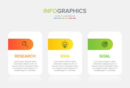 Concept of arrow business model with 3 successive steps. Three colorful graphic elements. Timeline design for brochure, presentation. Infographic design layout Ilustracja