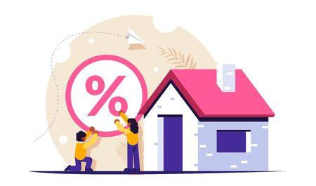 Concept de problème hypothécaire. Un pourcentage élevé crée des difficultés. Récupération de la banque pour les postes. Risque de se retrouver sans maison ni appartement. Illustration vectorielle isolée. Vecteurs