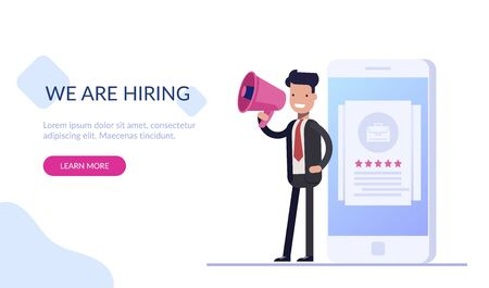 HR manager with a loudspeaker is standing near the phone with a job gallery. We are hiring. Search for highly qualified employees in the company. Flat vector illustration.