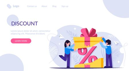Customer loyalty program. Discount as a gift inside the box with a bow. Unexpected surprise. Pprofitable offer to buy a product or service. Landing web page template
