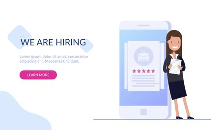 Young girl HR manager is standing with documents near a mobile phone with a job rating. Search for new employees. Work searches. Web design in Flat vector illustration.