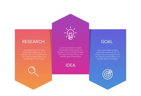 Concept of arrow business model with 3 successive steps. Three colorful graphic elements. Timeline design for brochure, presentation. Infographic design layout. Illusztráció