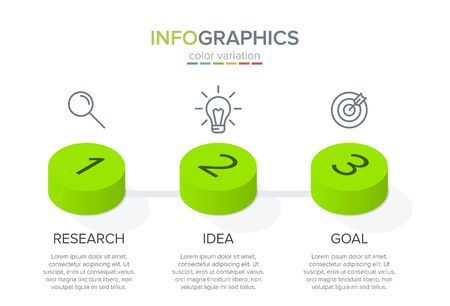 Isometric Concept of arrow business model with 3 successive steps. Three colorful graphic elements. Timeline design for brochure, presentation. Infographic design layout.