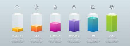 3d isometric Concept of arrow business model with 6 successive steps. Six colorful graphic elements. Timeline design for brochure, presentation. Infographic design layout Ilustração