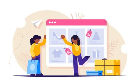 Online shopping. Girls make purchases in the online store. The product catalog on the web browser page. The girl chooses new shoes. Paper bag and shopping boxes. Vector isolated illustration
