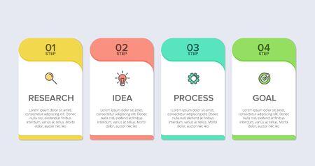 Conception infographique avec icônes et 4 options ou étapes. Vecteur de fine ligne. Concept d'entreprise d'infographie. Peut être utilisé pour les graphiques d'informations, les organigrammes, les présentations, les sites Web, les bannières, les documents imprimés Vecteurs