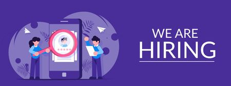 HR managers a man and a girl are considering candidates for the workplace. Search for a new employee. Young people are standing near the phone. Modern vector flat illustration.