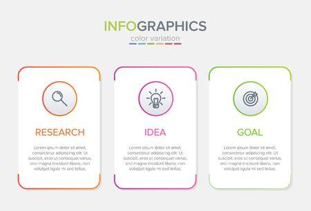 Concept of arrow business model with 3 successive steps. Three colorful graphic elements. Timeline design for brochure, presentation. Infographic design layout Illusztráció