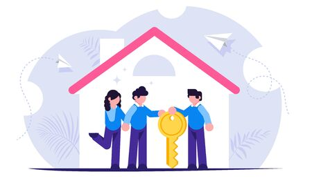 Process of buying a new house or apartment. Realtor transfers the keys to the property to new owners. Young family inside a new home. Vector isolated illustration. Vektorové ilustrace
