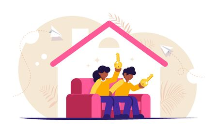 Buying a home concept. Young family sits on the couch in a new house with keys in their hands. Buying a new apartment with the help of a bank. Isolated vector illustration