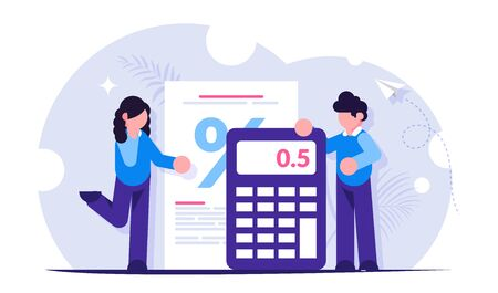 Mortgage calculator concept. Girl and the guy calculate the interest on the loan when buying a new house or apartment. Bank has a low interest rate. Vector isolated illustration. Vektorové ilustrace
