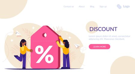 Discount label. Loyalty program. Demonstrating a large discount on a service or product. Girls get favorable terms. Landing web page template