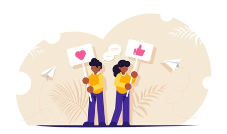 Social media concept. People stand with signs urging to put likes. Interacting with content on social media. Modern flat vector illustration