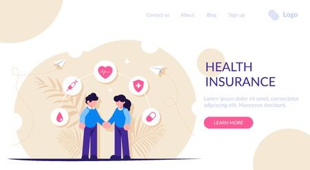 Health insurance or healthcare concept. People hold hands against the background of medical icons. Modern flat vector illustration. Landing web page template 스톡 콘텐츠 - 140735643