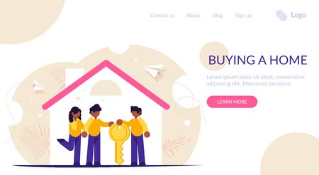 Process of buying a new house or apartment. Realtor transfers the keys to the property to new owners. Young family inside a new home. Landing web page template.