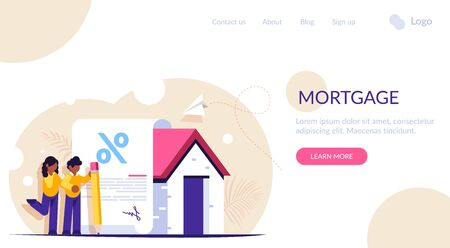 Mortgage loan form concept. Young family signs a mortgage document to buy a new home. Favorable interest from the bank. Landing web page template.