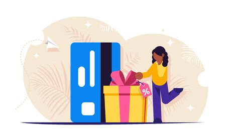Discount card. Customer loyalty program. People receives a gift in a box with a bow against the background of a bank card. Satisfied buyer or customer. Vector isolated illustration Illustration