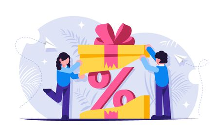 Customer loyalty program. Discount as a gift inside the box with a bow. Unexpected surprise. Pprofitable offer to buy a product or service. Vector isolated illustration