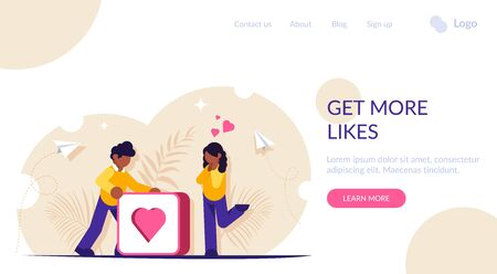Get more likes concept. Social media illustration. Man pushes big button with heart. Girl rejoices from the received attention from the man. Landing web page template.