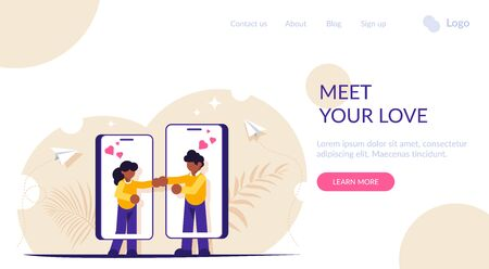 Website or dating app concept. Meet your love. People find and communicate with each other through phones. Modern metaphor. Landing web page template