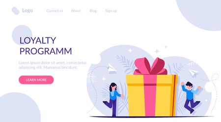 Loyalty program is a concept. Man and a woman receive a gift for using the services. Gift box with a bow. Landing web page template