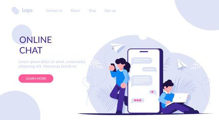 Online chat concept. People communicate on social media or messengers. Modern communication on the Internet. Immersion in virtual reality. Landing web page template