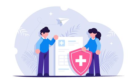 Healthcare concept. People stand in the background of a medical document and a shield. Health insurance. Modern flat vector illustration  イラスト・ベクター素材