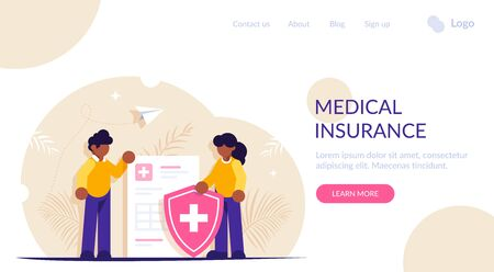 Healthcare concept. People stand in the background of a medical document and a shield. Health insurance. Modern flat vector illustration. Landing web page template  イラスト・ベクター素材