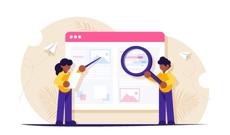 The process of creating engaging content for a website or blog. Man with a magnifying glass and a pointer. Modern flat vector illustration. Vetores