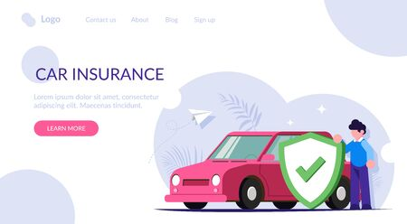 Car insurance concept. People insured his property against accidents or natural disasters. Man with a shield in the background of a car. Modern flat vector illustration. Landing web page template.  イラスト・ベクター素材