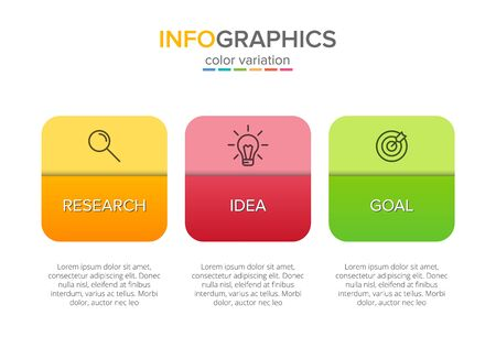 Concept of arrow business model with 3 successive steps. Three colorful graphic elements. Timeline design for brochure, presentation. Infographic design layout