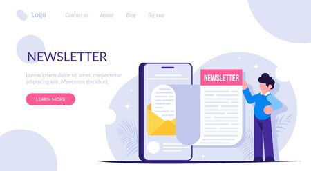 Newsletter concept. The man opened the news email received on his smartphone. Notice of a new message. Modern flat vector illustration.