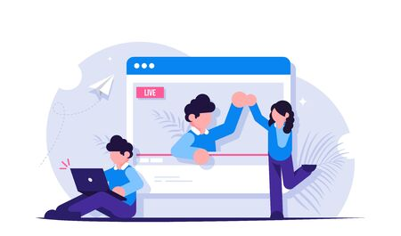 Concept of on-line video or live streaming. The blogger communicates with viewers and subscribers. View the broadcast in the browser. Modern flat vector illustration. Illusztráció
