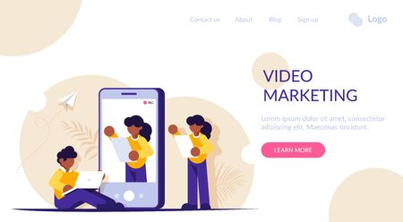 Video marketing concept. Process of creating a presentation video. Record the appeal on your mobile phone. Video bloggers. Modern flat vector illustration. Landing web page template. 写真素材 - 143417026