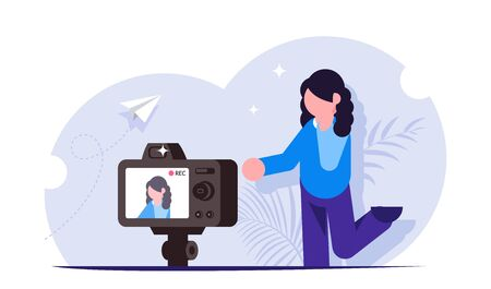 Influencer concept. The process of shooting video content for a blogger or streamer. Record streaming video. Appeal of a popular person to his subscribers. Modern flat vector illustration.
