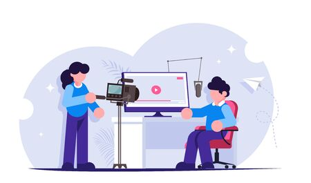Video blogging concept. Take entertaining or educational content for your channel or social network. Home video studio. Modern flat vector illustration. 写真素材 - 143417038
