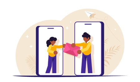 Sending messages is a concept. People are handing the envelope out of hand. Social media. Modern flat vector illustration.