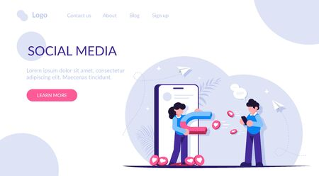 Social media marketing. Get more likes concept illustration. People with a magnet attracts likes to her social media page. People uses a mobile phone. Modern flat vector illustration.