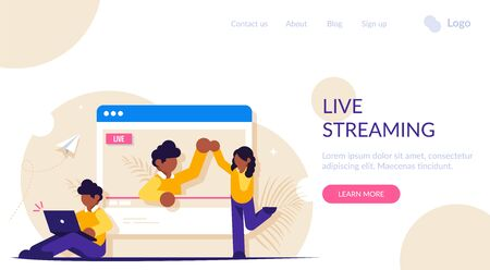 Concept of on-line video or live streaming. The blogger communicates with viewers and subscribers. View the broadcast in the browser. Modern flat vector illustration.