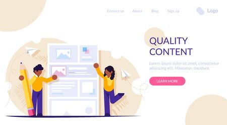 People are working on creating quality content. A mock web page or news portal. Modern flat vector illustration. Landing web page template Vetores