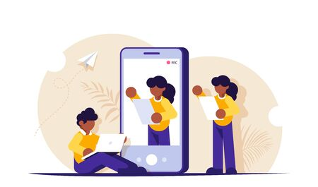 Video marketing concept. Process of creating a presentation video. Record the appeal on your mobile phone. Video bloggers. Modern flat vector illustration
