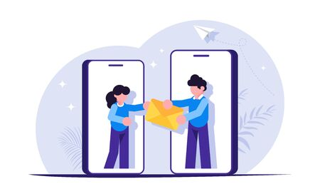 Sending messages is a concept. People are handing the envelope out of hand. Social media. Modern flat vector illustration