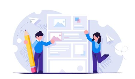 People are working on creating quality content. A mock web page or news portal. Modern flat vector illustration Vetores