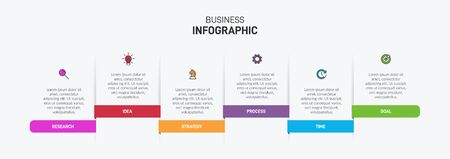 Concept of arrow business model with 6 successive isometric steps. Six colorful graphic elements. Timeline design for brochure, presentation. Infographic design layout.