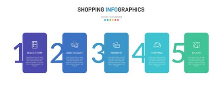 Concept of shopping process with 5 successive steps. Five colorful graphic elements. Timeline design for brochure, presentation, web site. Infographic design layout
